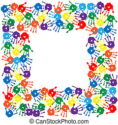 Frame of colorful hand prints