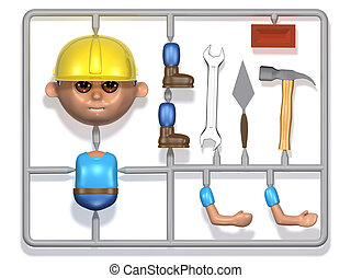 3d Plastic builder construction kit - 3d render of a plastic...