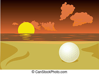 golf ball on the sunset beach - lost golf ball on the sunset...