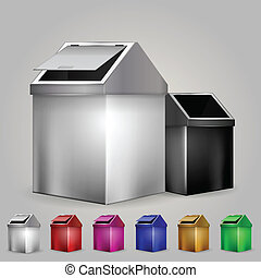 Illustration of dustbins