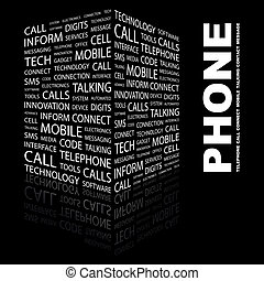 PHONE. Word cloud concept illustration. Wordcloud collage.
