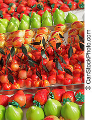 marzipan confectionery in fruit shapes ( italian : Frutta di...