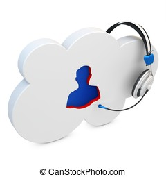 3d cloud user support, help line on white background