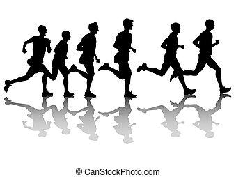 Marathon - Silhouette of man athletes on running race