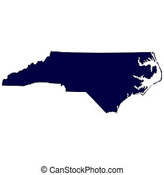 U.S. state of North Carolina - map of the U.S. state of...