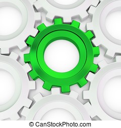 3d green cog with white crowd