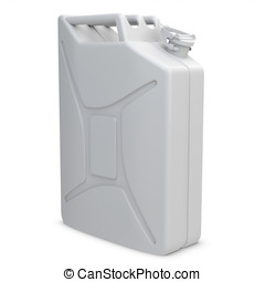 3d white painted jerry can on white background
