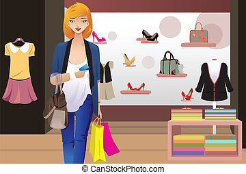 Shopping woman inside the clothing store