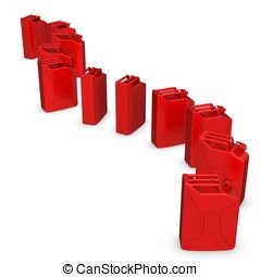 3d row of red jerry cans on white background