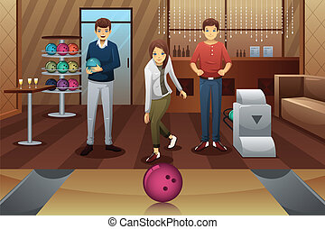 Young people playing bowling - A vector illustration of...