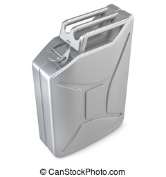 3d metallic jerry can - 3d metallic jerry can on white...