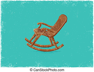 Retro rocking chair -  in vintage vector style