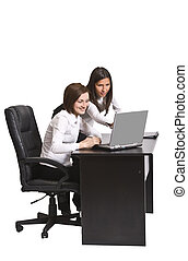 Working together - Two young businesswoman working together...