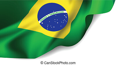 Waving flag of Brazil, South America Vector illustration