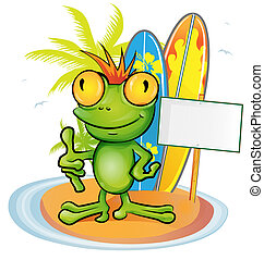 frog cartoon surfer on island background