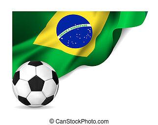 Soccer ball with brasil flag.  illustration