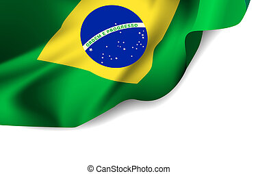 Waving flag of Brazil, South America.  illustration