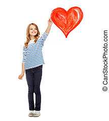 girl drawing big red heart in the air - education, school...