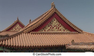 Chinese Palace Rooftop - Zoom in of the intricate design of...