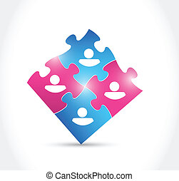 male and female puzzle pieces illustration design