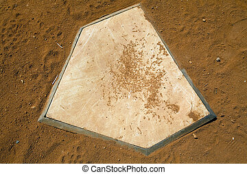 Homeplate - Dirty baseball homeplate. close up. top view.