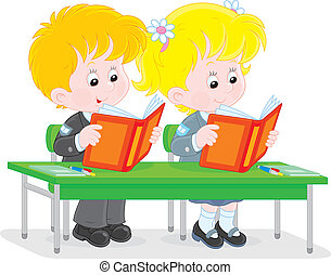 Schoolchildren read at a lesson - Schoolgirl and schoolboy...