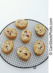 friands on rack - friands on cooling rack with white...