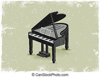 Antique piano in vintage vector style