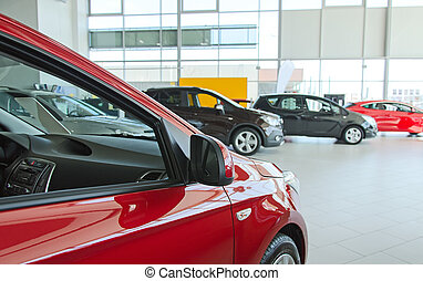Several new cars at dealership salon