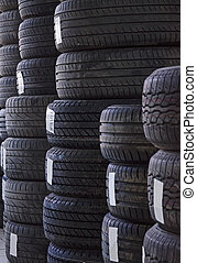Used old car tires at workshop