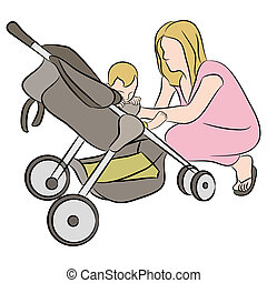 Mom With Baby In Stroller