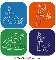 Pet Chores - An image of a man doing pet chores.