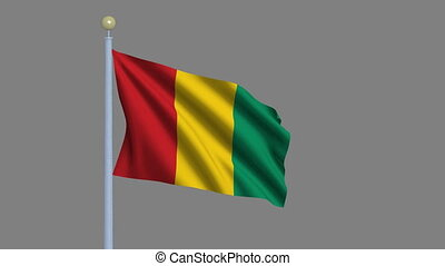 Flag of Guinea with alpha matte - Flag of Guinea waving in...