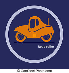 Silhouette of road roller - Silhouette of road roller...