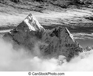 Ama Dablam - Black and white view of Ama Dablam with and...