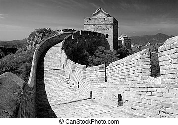 Great Wall - China - black and white view of Great Wall -...
