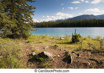 Edith Lake - Foreground shoreline of Edith Lake located in...