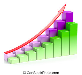 Colorful growing bar chart with arrow in two rows