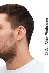 close up of male ear - health and body parts concept - close...