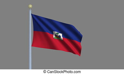 Flag of Haiti with alpha matte - Flag of Haiti waving in the...