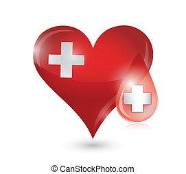 heart medical symbol illustration design over a white...