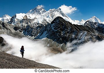 view of Everest from Gokyo with tourist on the way to...