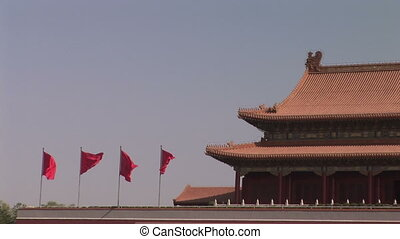 Red Flags Flying Over Forbidden City - Four red flags...