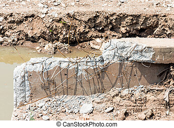 Demolition of concrete bridge - Concrete bridge was...