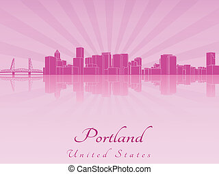 Portland skyline in purple radiant orchid