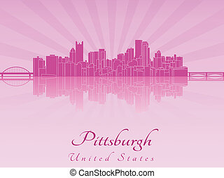 Pittsburgh skyline in purple radiant orchid in editable...