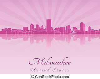 Milwaukee skyline in purple radiant orchid