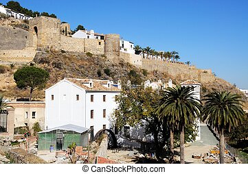 Water mill, Antequera, Spain - View of the castle and water...