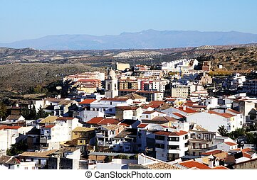 White town, Loja, Spain. - View over the town rooftops...