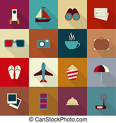 16 flat travel icons with shadow